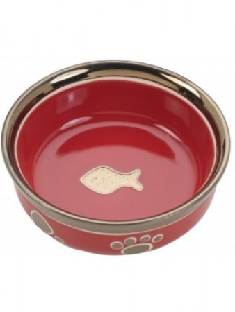 Ethical Products Ritz Copper Rim Cat Dish - Red