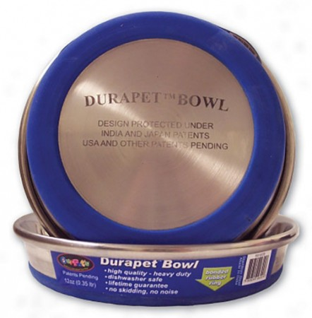 OurPets Premium Rubber - Bonded Stainless Steel Cat Dish - 12 fl oz
