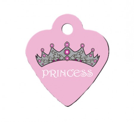 "PetScribe I.D. Tag - Pink ""Princess"" - Small Heart"