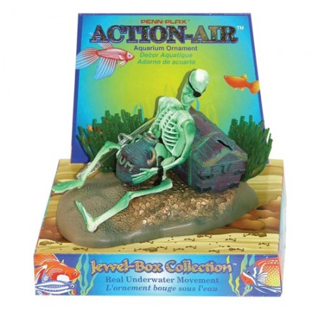Penn Plax Action-Air Skeleton with Jug & Treasure Chest