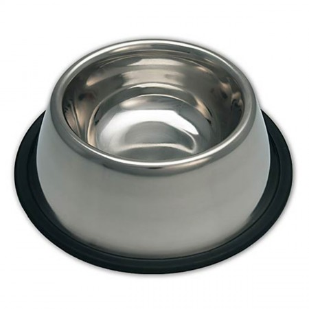 Loving Pets Products Ruff N' Tuff Traditional Stainless Steel No-Tip Bowl for Long Eared Dogs - 32 oz