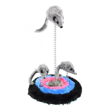Animal Treasures Furry Spring 3 Mice Cat Toy - 9""