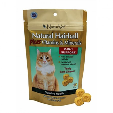 NaturVet Natural Hairball Plus Vitamins & Minerals Soft Chews - 50 pk