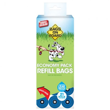 Bags On Board Waste Pick-Up Refill Bags Economy Pack - Blue - 21 Rolls/315 Bags