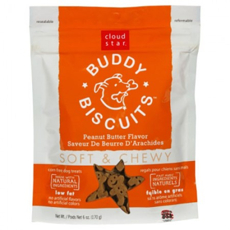 Cloud Star Buddy Biscuits Original Soft & Chewy Treats with Peanut Butter - 6 oz