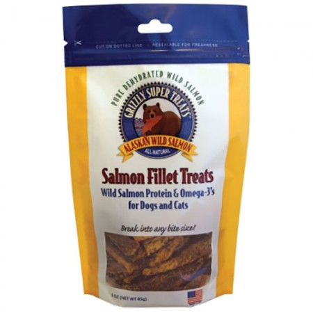 Grizzly Pet Products Salmon Fillet Treats - Wild Salmon Protein & Omega-3's - 3 oz