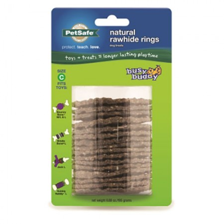 Pet Safe Pro Busy Buddy Natural Rawhide Rings - Size C - 16 pk