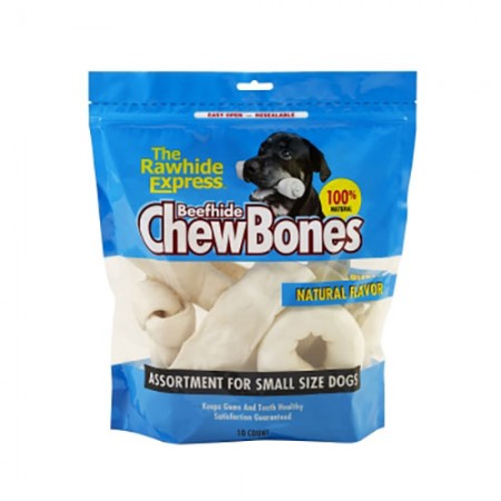 The Lennox Group The Rawhide Express Beefhide ChewBones - Small Dogs - 10 pk