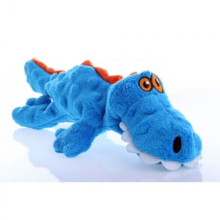 GoDog Gators Plush Toy with Chew Guard - Blue - Small