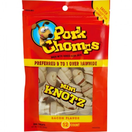 Scott Pet Pork Chomps - Bacon Knotz - Mini - 12 pk