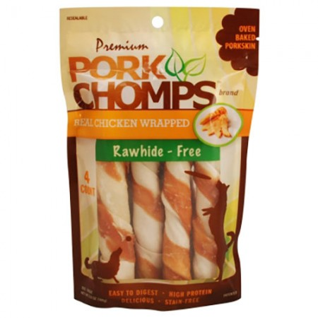 Scott Pet Premium Pork Chomps - Chicken Twistz  - Large - 4 pk