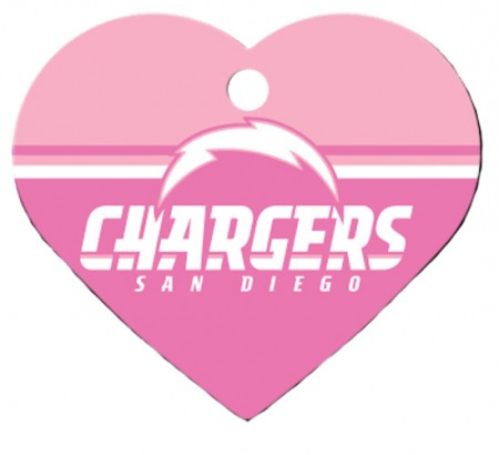 PetScribe I.D. Tag - Pink NFL San Diego Chargers - Large Heart