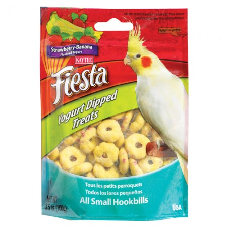 Fiesta Yogurt Dipped Treats for All Small Hookbills - Strawberry-Banana Yogurt - 3.5 oz