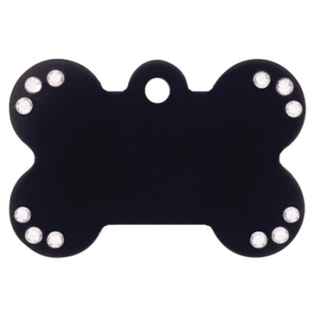 PetScribe I.D. Tag - Black Anodized Aluminum with Clear Crystals - Large Bone