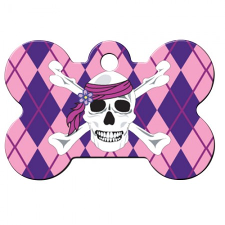 PetScribe I.D. Tag - Pink/Purple Argyle with Skull - Large Bone