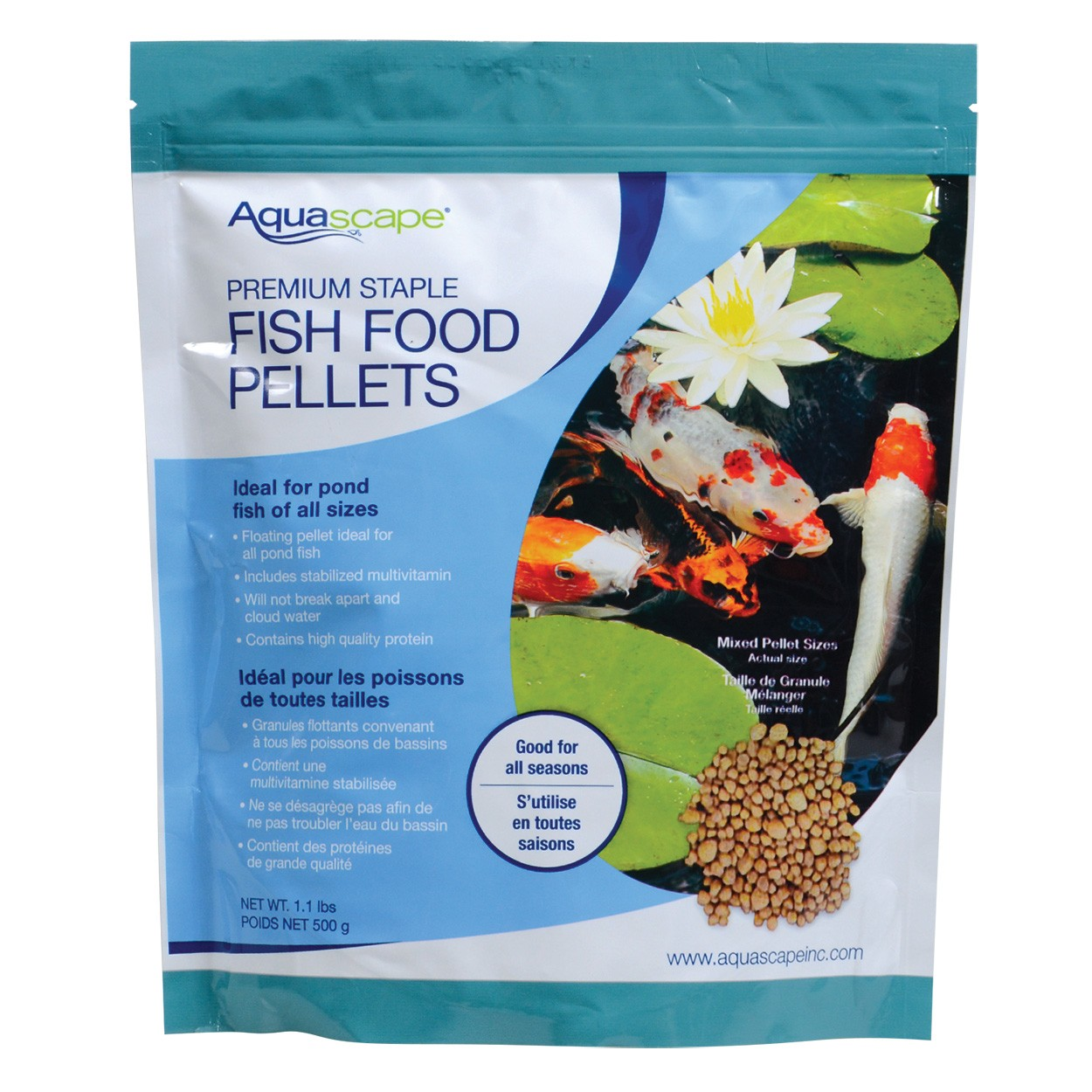 Aquascape premium staple fish food mixed pellets for Fish food for pond fish